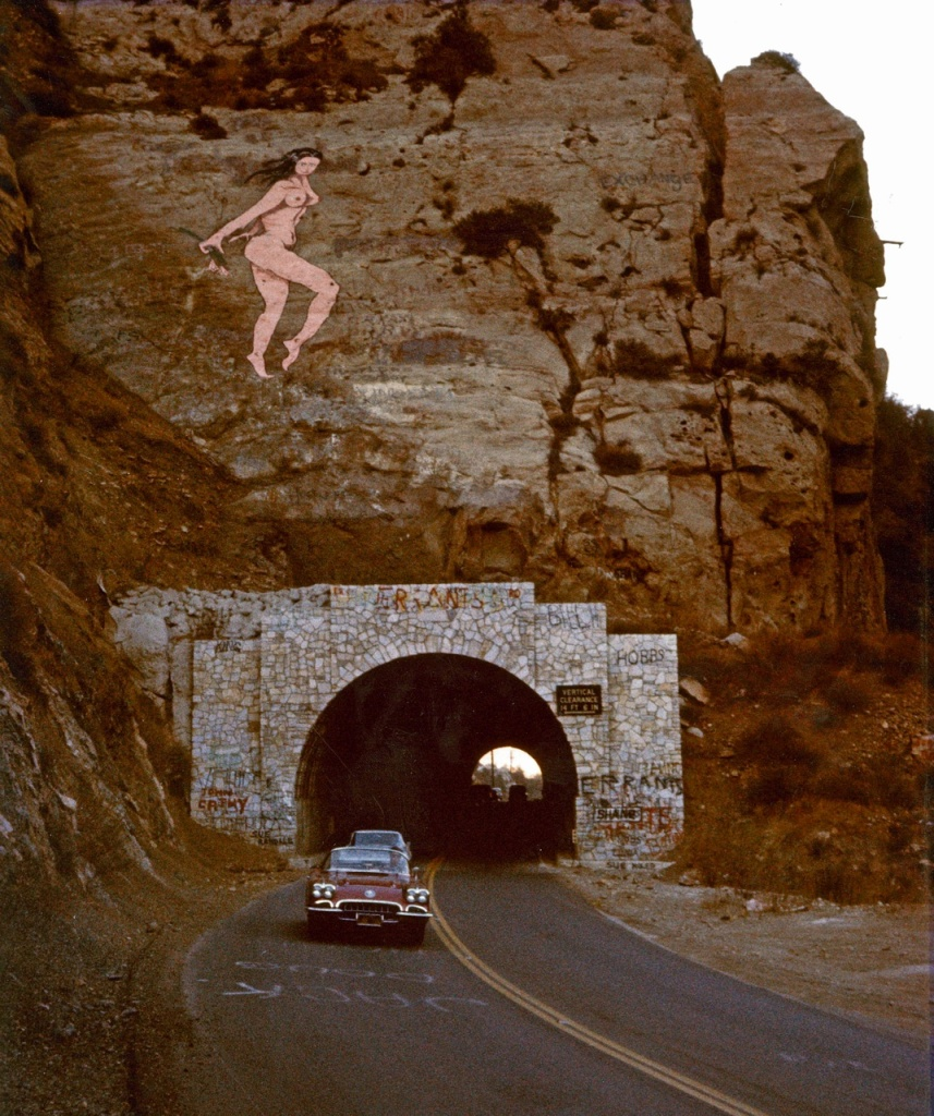 The original Pink Lady above the Malibu Canyon Road tunnel, circa October 28, 1966.