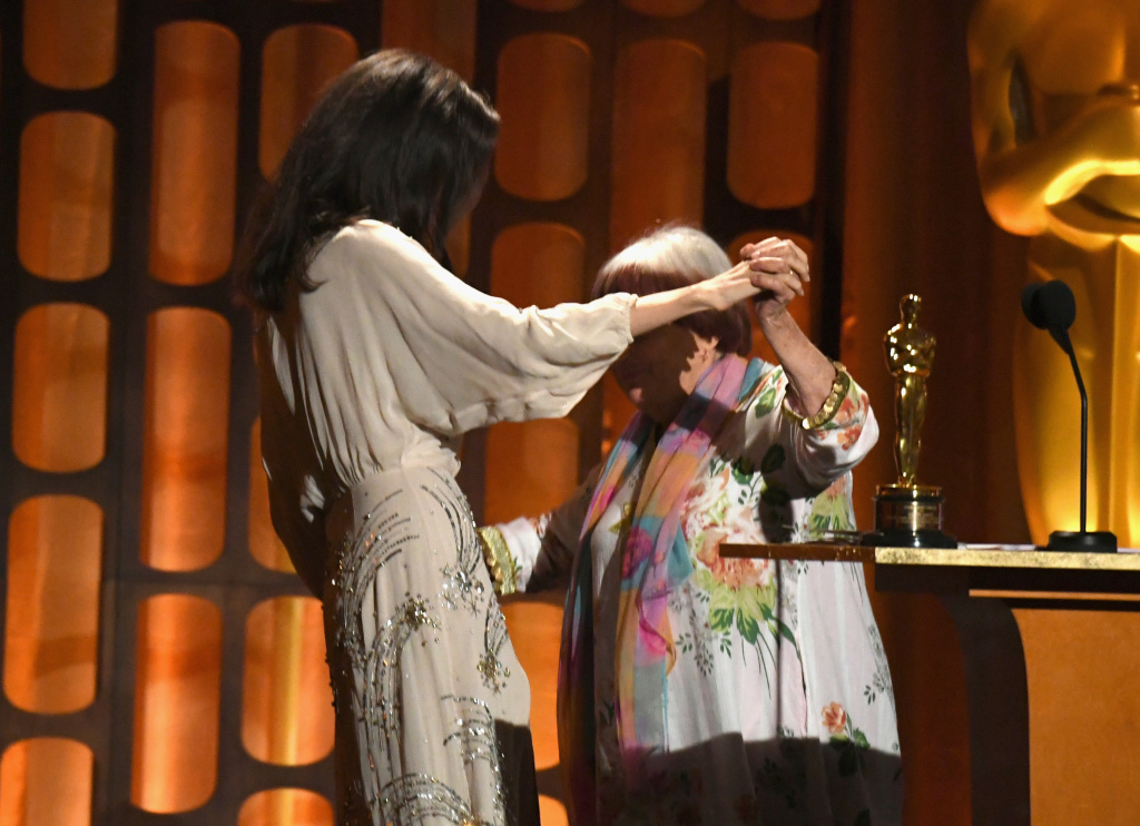 Angelina Jolie presents the Honorary Award to director Agnes Varda onstage at the Academy of Motion Picture Arts and Sciences' 9th Annual Governors Awards on November 11, 2017 in Hollywood, California.
