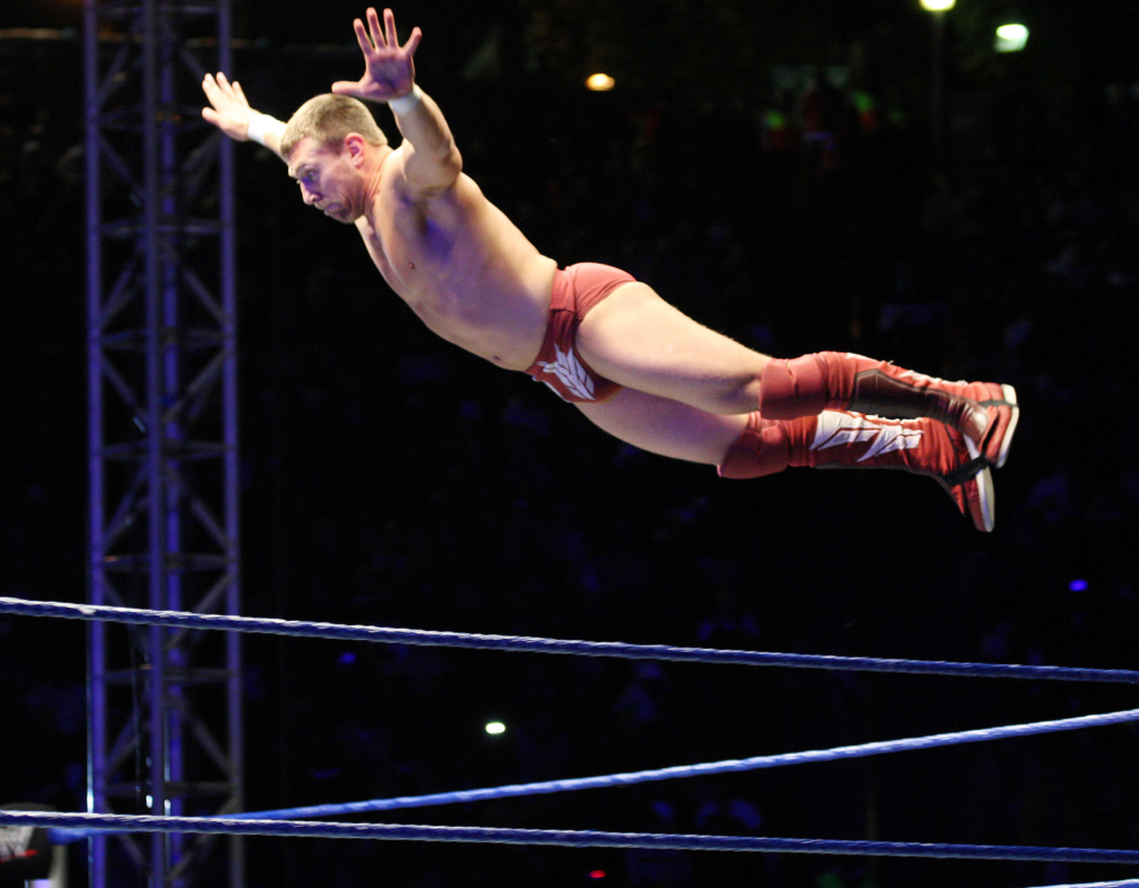 WWE Superstar Daniel Bryan flies off the ropes during the WWE Smackdown Live Tour at Westridge Park Tennis Stadium on July 08, 2011 in Durban, South Africa.