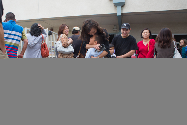 Janet Mar reunited with her son Maddox Kiyohara outside the Brightwood School on May 16th, 2013.