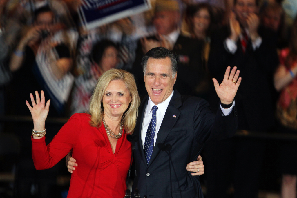 Republican presidential candidate, former Massachusetts Gov. Mitt Romney and his wife Ann Romney greet supporters during an Illinois GOP primary victory party at the Renaissance Schaumburg Convention Center Hotel March 20, 2012 in Schaumburg, Illinois. Exit polls showed Romney leading his closest rival, former Sen. Rick Santorum (R-PA), and will keep his lead in the delegate count.