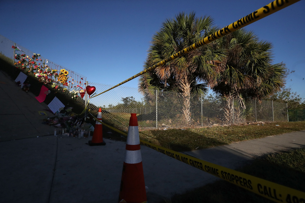 A sidewalk leads to Marjory Stoneman Douglas High School, site of the February 14, 2018 mass shooting in Parkland, Florida.