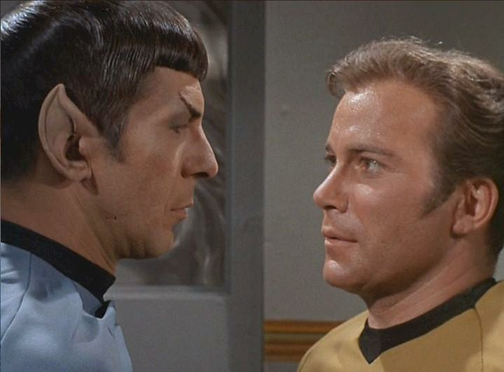 Leonard Nimoy as Spock (L) and William Shatner as Captain Kirk on the TV series