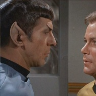 "Leonard Nimoy as Spock (L) and William Shatner as Captain Kirk on the TV series ""Star Trek."" Fan fiction of romance between Kirk and Spock were first called ""K/S. Eventually that ""slash"" became known as its own genre where two male characters from any known work are thrown together."