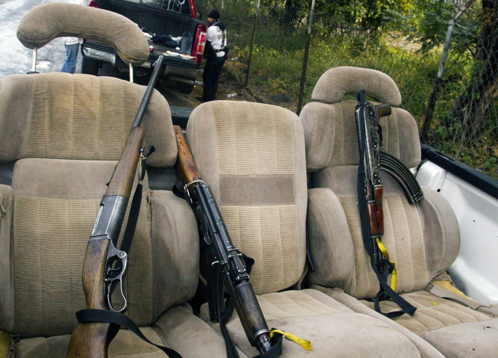 View of guns belonging to members of the citizens' self-protection police in Paracuaro community, Michoacan State, Mexico, on January 16, 2014.