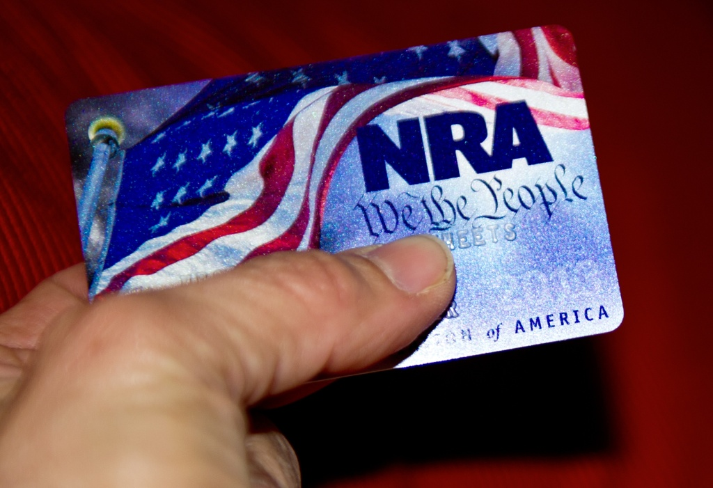 A membership card for the National Rifle Association (NRA) is seen on January 10, 2013 in Manassas, Virginia.