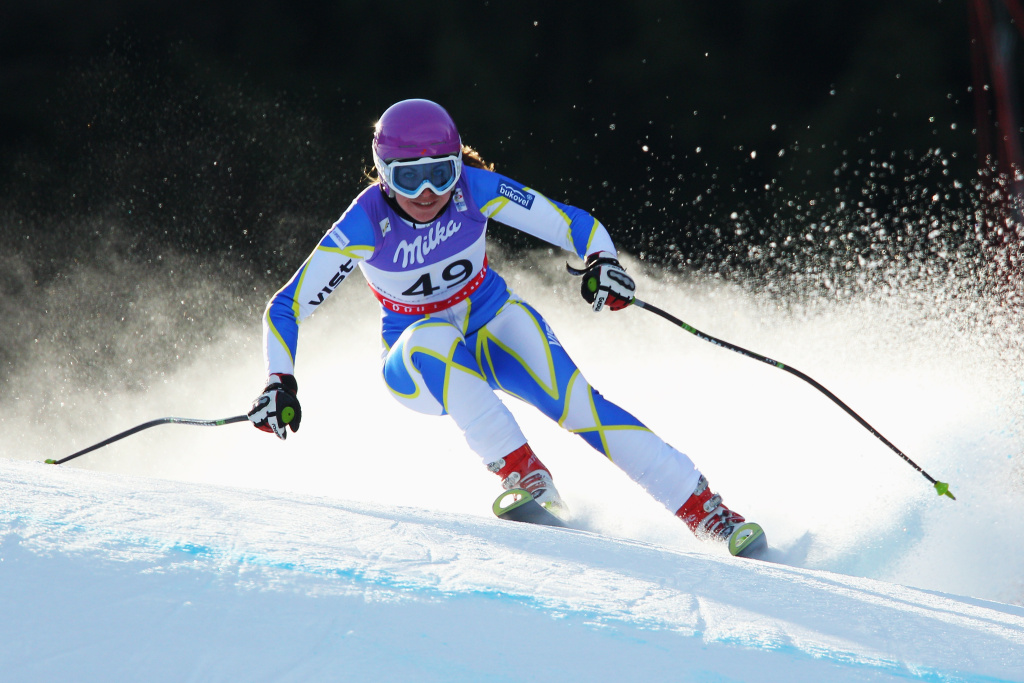 Bogdana Matsotska of the Ukraine competes in the Women's Super G during the Alpine FIS Ski World Championships on the Kandahar course on February 8, 2011 in Garmisch-Partenkirchen, Germany.