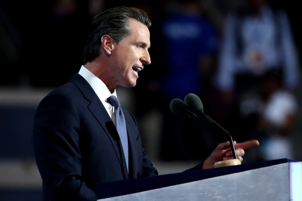 Gov. Gavin Newsom (D-CA) delivers remarks on the third day of the 2016 Democratic National Convention