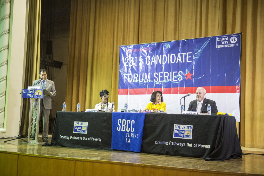 Los Angeles Unified school board candidates in District 7 discuss their views at a United Way candidate forum on Feb. 6, 2015 at the Granada Theater in Wilmington. Loyola Marymont University political science professor Fernando Guerra moderated.