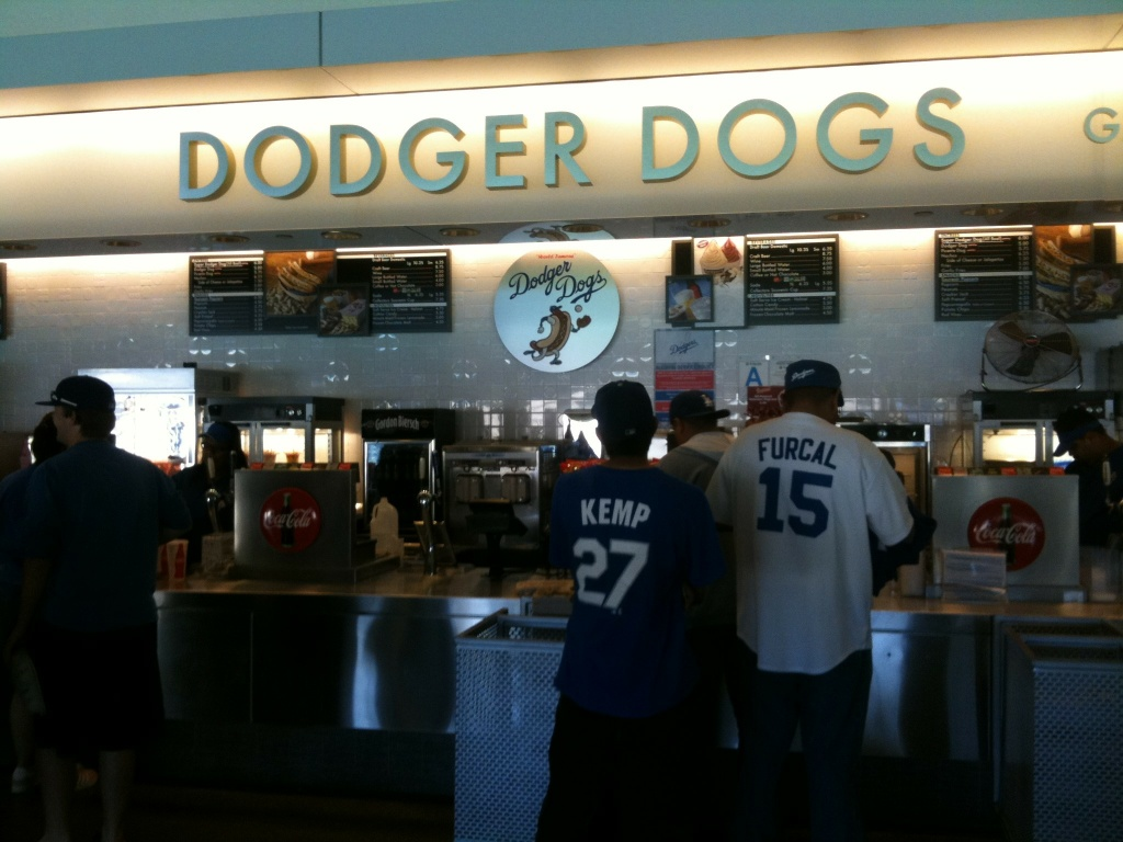 Fans at Dodgers Stadium concession stand