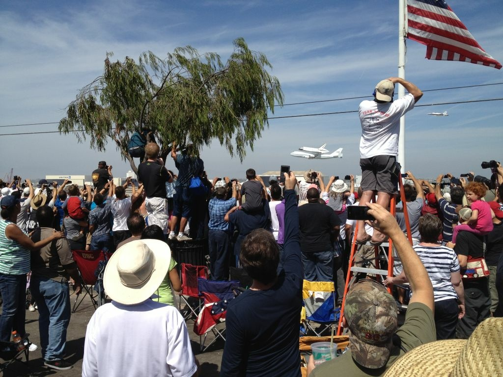 Endeavour watchers on Imperial Avenue in El Segundo during one fly-by.