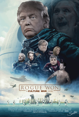 A fake movie poster created by conservative street artist Sabo, parodying the Star Wars film