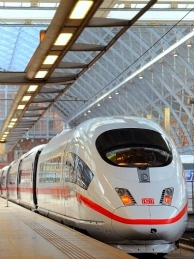 An ICE high speed train operated by German rail firm Deutsche Bahn at St Pancas International station in London, on October 19, 2010.