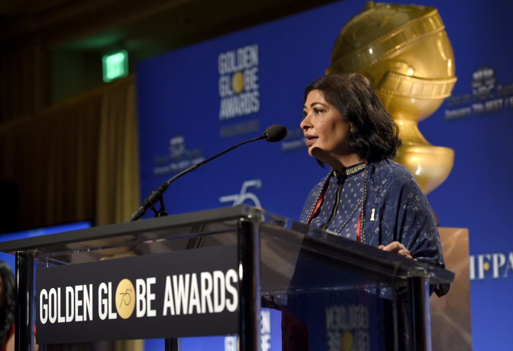 HFPA President Meher Tatna speaks before the nominations for the 75th Annual Golden Globe Awards at the Beverly Hilton hotel on Monday, Dec. 11, 2017, in Beverly Hills, Calif. The 75th annual Golden Globe Awards will be held on Sunday, Jan. 7, 2018.