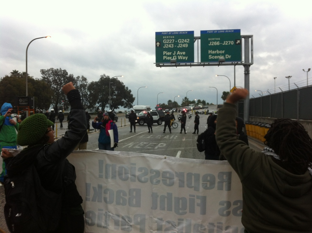 Protesters blocking the Port of Long Beach
