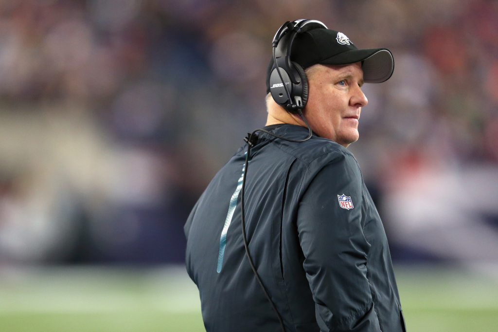 Head coach Chip Kelly of the Philadelphia Eagles looks on during the game between the New England Patriots and the Philadelphia Eagles at Gillette Stadium on December 6, 2015 in Foxboro, Massachusetts.