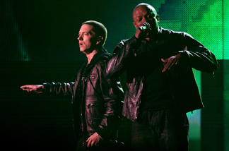 Eminem and Dr. Dre perform onstage during The 53rd Annual GRAMMY Awards held at Staples Center on February 13, 2011 in Los Angeles.