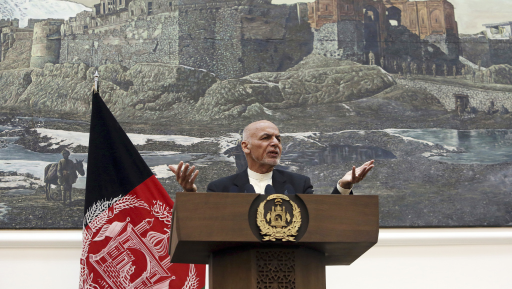 Afghan President Ashraf Ghani addresses a news conference last month at the presidential palace in the capital, Kabul, where the government was hosting U.S. Secretary of State Mike Pompeo.