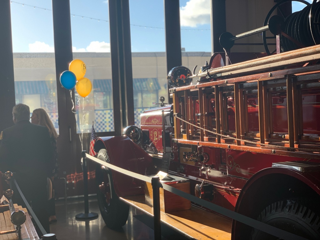 Balloons in front of an antique fire engine at the L.A. County Fire Museum signal the celebration of 50 years of EMS care.