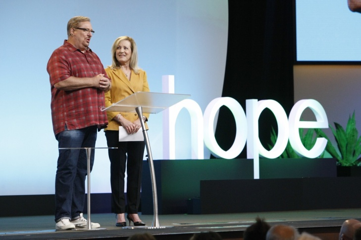 Pastors Rick and Kay Warren kick-off the gathering on the church and mental health. Nearly 3,000 people attended the three-day conference at Orange County's mega-church Saddleback.