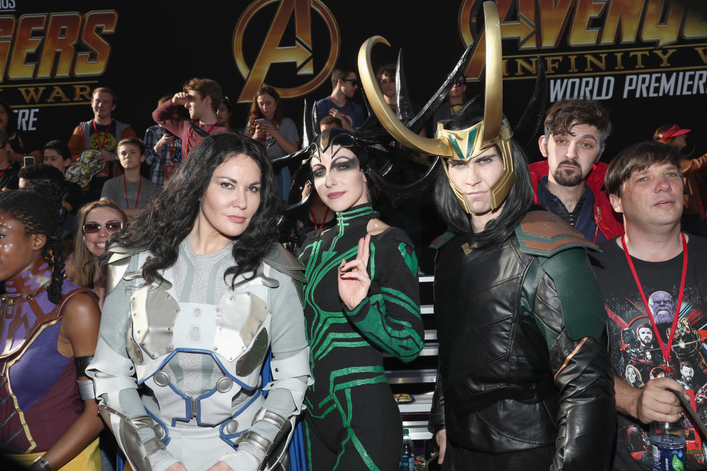 Fans attend the Los Angeles Global Premiere for Marvel Studios'