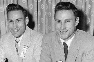 In this June 4, 1955 file photo, Richard Herrick, left, and his twin brother Ronald, from Northborough, Mass., sing at the annual meeting of the Mended Hearts Club at a hotel in Boston. The identical twin brothers made medical history when Ronald donated one of his kidneys to Richard for a Dec. 23, 1954 kidney transplant that was recognized as the world's first successful organ transplant. Richard lived eight years after receiving the transplant. Ronald died Monday, Dec. 27, 2010, in Augusta, Maine. He was 79.
