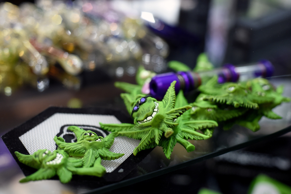 Marijuana leaf trinket being sold during the Mexico 2017 Expoweed held in Mexico City on August 18, 2017.