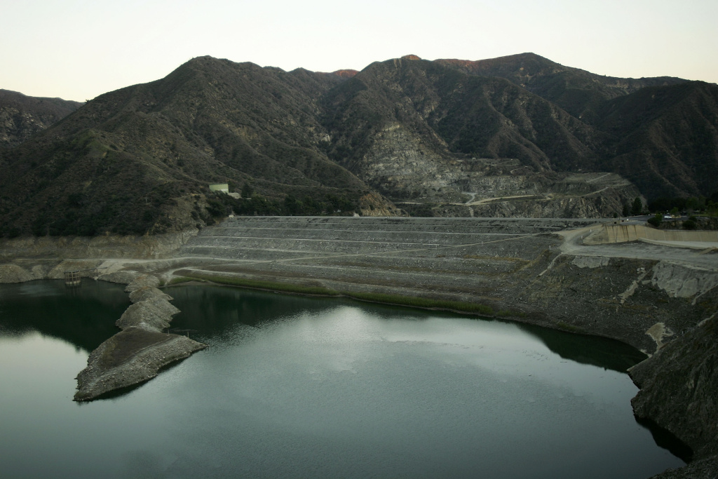 The San Gabriel Reservoir in the Angeles National Forest near Azusa, California.