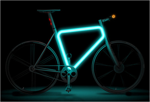 bike that glows in the dark it uses solar activated paint that glows. Black Bedroom Furniture Sets. Home Design Ideas