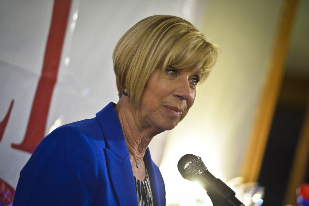 4th district Supervisor candidate Janice Hahn speaks Tuesday evening at her campaign's election watch party. Hahn was speaking on behalf of Isadore Hall, whose watch party was held in the room next door at Port O' Call in San Pedro.