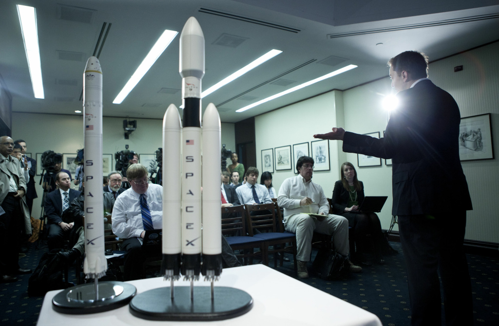 Elon Musk, CEO of Space Exploration Technologies Corp, speaks during a news conference at the National Press Club on April 5, 2011 in Washington D.C., where he announced the Falcon Heavy rocket.