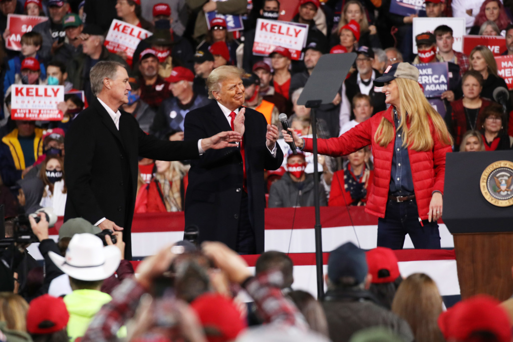 Former President Trump at a rally for now former Sens. David Perdue and Kelly Loeffler on Dec. 5, 2020 in Valdosta, Ga. Both GOP senators ultimately lost their runoff elections this month, handing control of the Senate to Democrats.