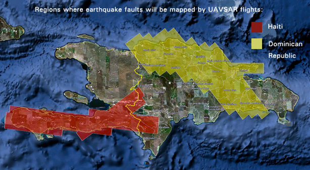 NASA's UAVSAR airborne radar will create 3-D maps of earthquake faults over wide swaths of Haiti (red shaded area) and the Dominican Republic (yellow shaded area).