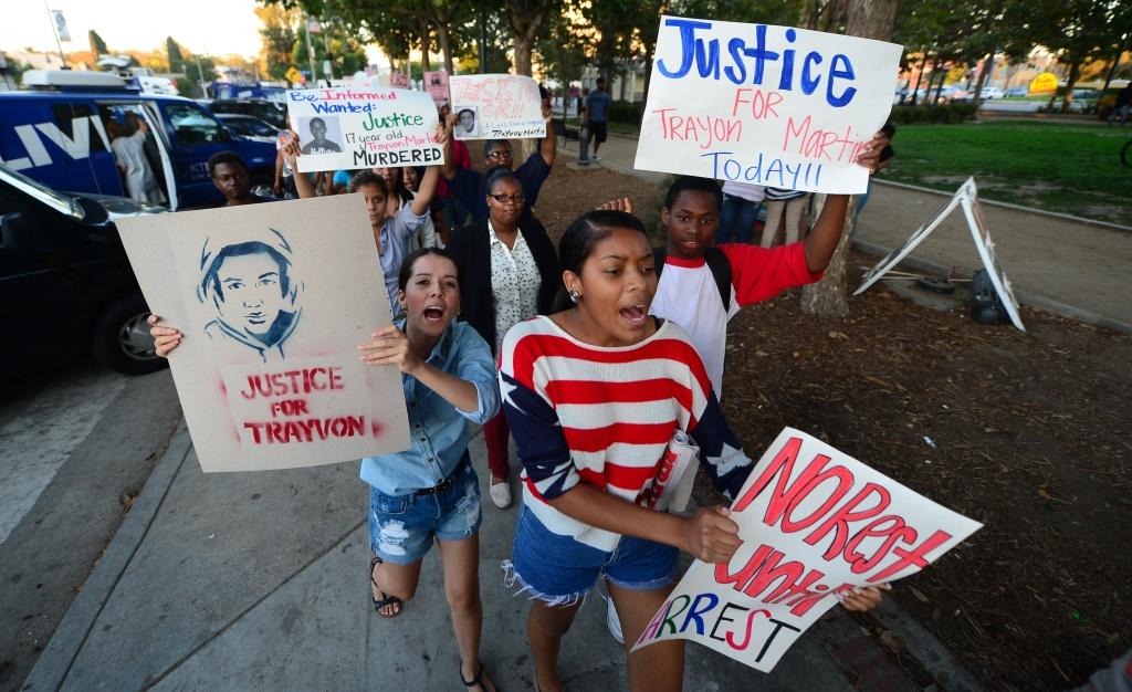 Demonstrators took the streets in Los Angeles in the aftermath of George Zimmerman's acquittal.