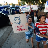 Demonstrators marching in Los Angeles