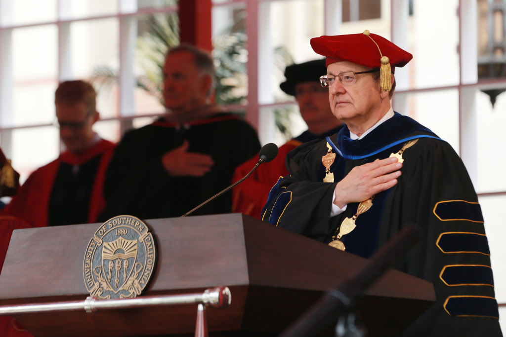 School President of USC CL Max Nikias attends The University Of Southern California's Commencement Ceremony at Alumni Park at USC on May 11, 2018 in Los Angeles, California.
