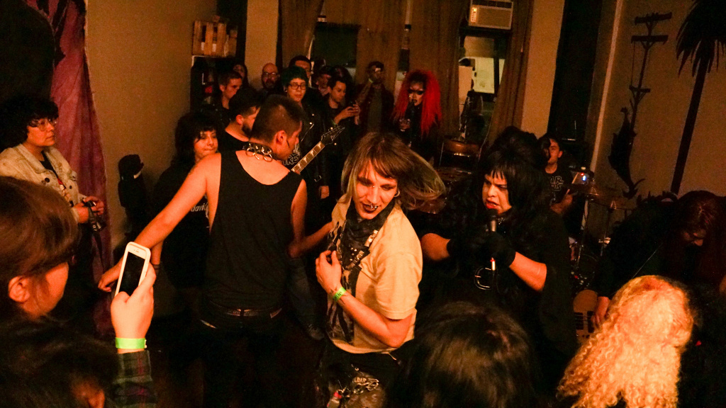 East LA punks dance to  South Gate band Trap Girl  at La Conxa, 2017.