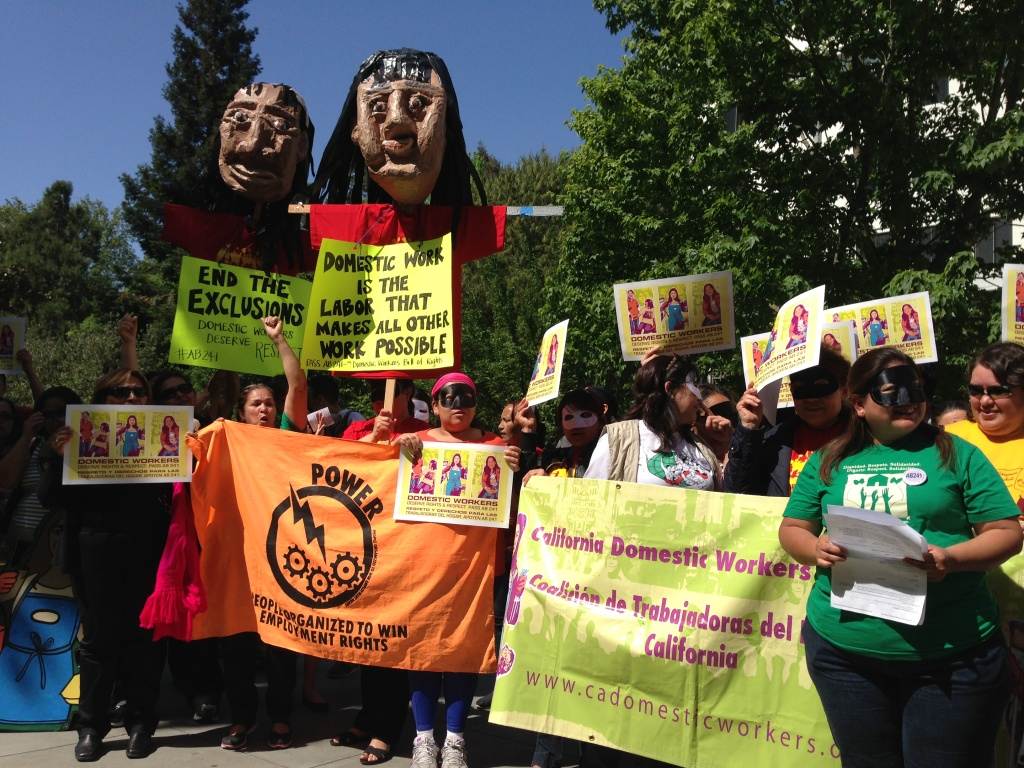 Domestic workers rally in Sacramento, Calif. earlier this year for the
