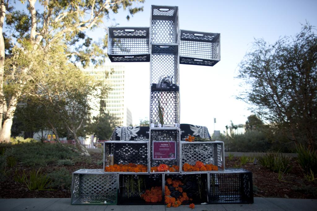 This Día de Los Muertos altar in Grand Park titled