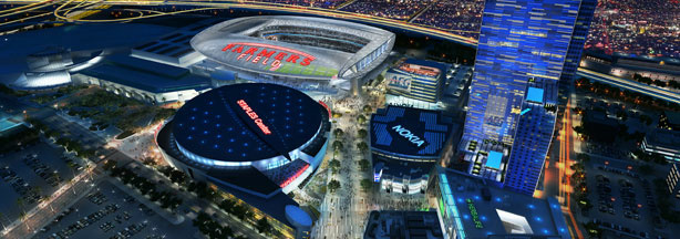 Artist's depiction of proposed NFL stadium with Famers Field logo.