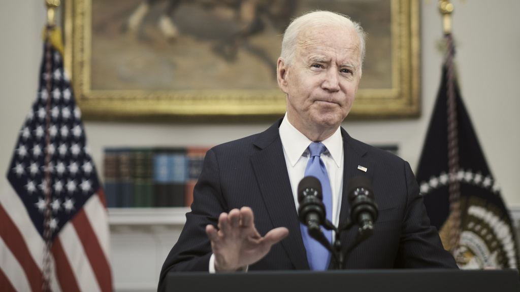President Biden answers a question about the conflict between Israel and Hamas militants on Thursday after delivering remarks at the White House on the Colonial Pipeline incident. His public comments on the situation in the Middle East have been limited while the administration says it is focused on diplomacy behind the scenes.