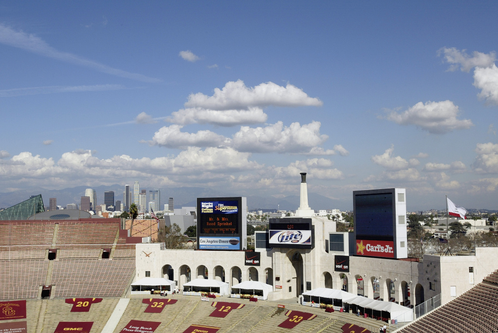 A view of the inside of the Los Angeles Memorial Coliseum.