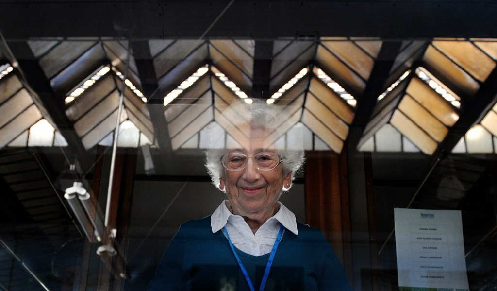 Ruth Humpreyes, a Jewish survivor of the Holocaust, looks out from a window of the historical train named ''Winton train'' at Prague's Main Railway Station on September 1, 2009, on the 70th anniversary of the start of World War II. The Winton train is named after Sir Nicholas Winton who rescued Humpreyes and 668 mostly Jewish-Czech children from their doomed fate in the Nazi death camps, prior to the outbreak of World War II in an operation known as the Czech Kindertransport.