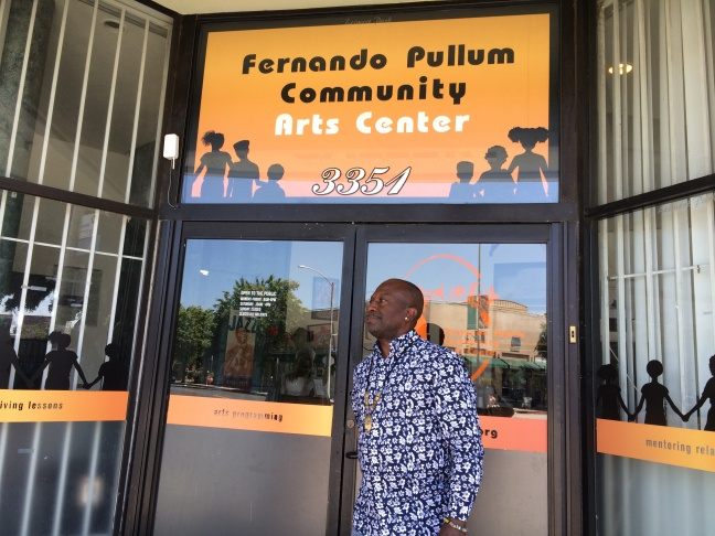 Fernando Pullum in front of the community center he founded in Leimert Park. (April 2017)