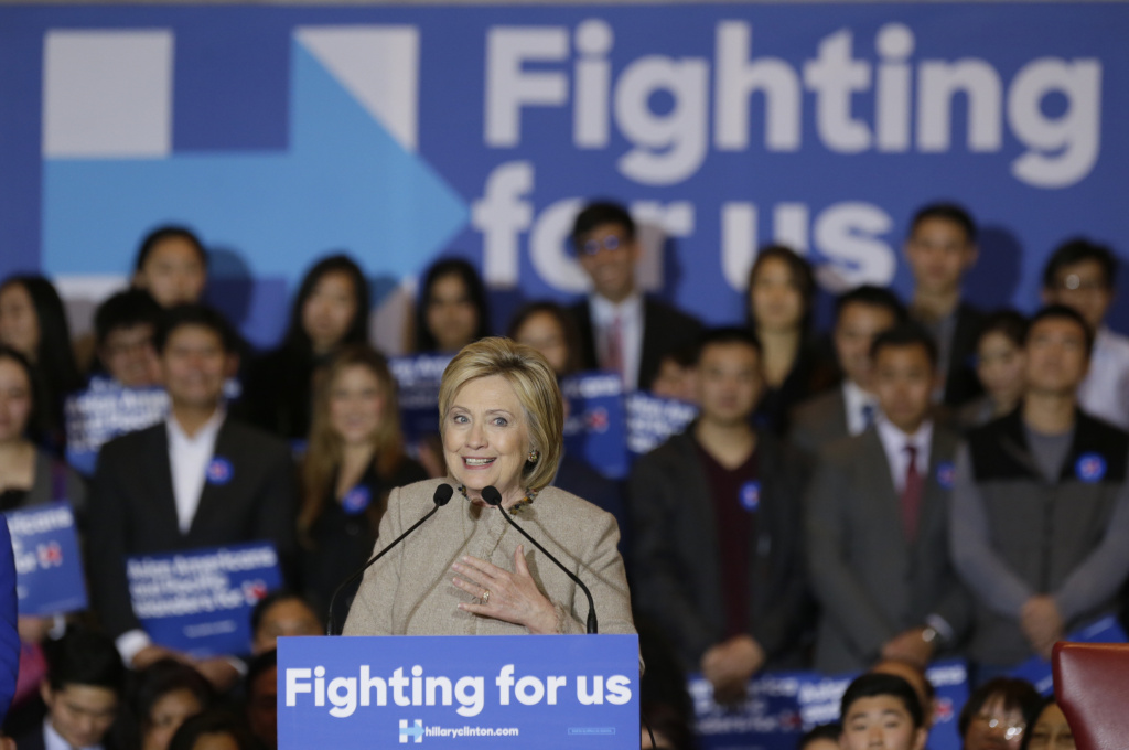 Democratic presidential candidate Hillary Clinton addresses Asian American and Pacific Islander supporters in San Gabriel, Calif., on Thursday, Jan. 7, 2016.  (AP Photo/Damian Dovarganes)