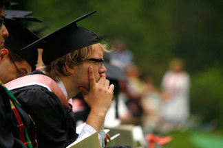 Students attend the Vassar College 2010 commencement at Vassar College on May 23, 2010 in Poughkeepsie, New York.