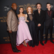 "(L-R) Samuel L. Jackson, Ella Purnell, Lauren McCrostie, Tim Burton, Asa Butterfield, Finlay MacMillan and Eva Green attend the ""Miss Peregrine's Home For Peculiar Children"" premiere."