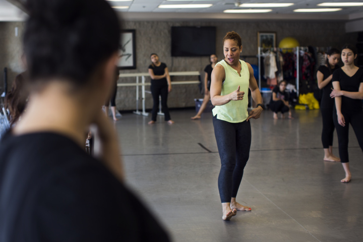 Dance Teacher Nicole Robinson takes notes as students rehearse for an upcoming performance during a beginning dance class at A. B. Miller High School in Fontana on Monday morning, April 3, 2017. About 175 students are in the high school's dance program.