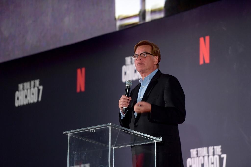 Aaron Sorkin speaks onstage during Netflix's