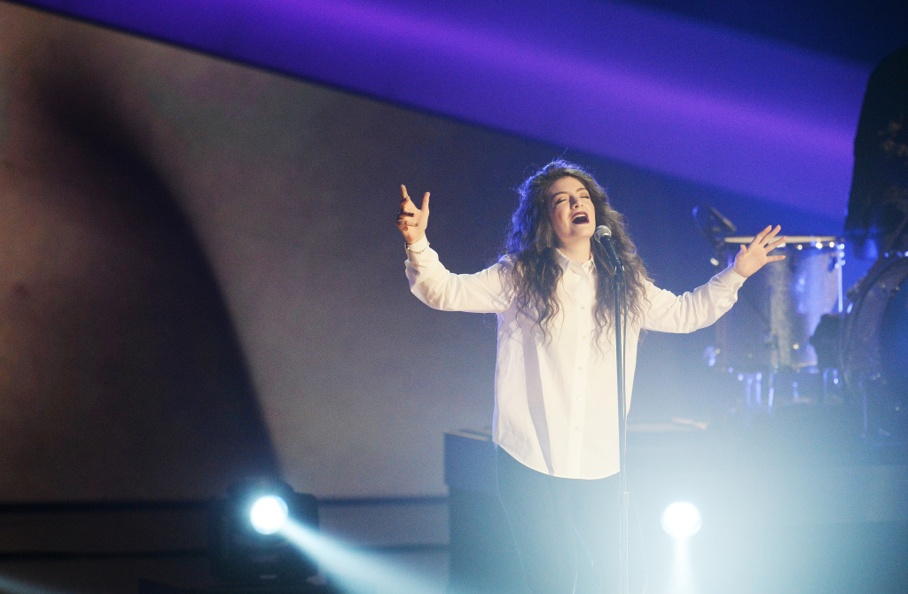 Lorde performs during the Grammy Nominations Concert at the Nokia Theatre in Los Angeles on December 6, 2013. The 56th Annual Grammy Awards will be broadcast live from Los Angeles on January 26, 2014.